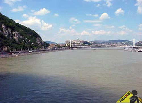 View with Danube, Gellért Hill, Elisabeth bridge and Castle